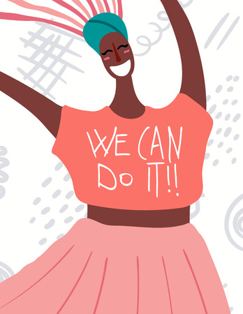 Womens day card, poster, banner, with quote We can do it and smiling black woman portrait. Hand drawn vector illustration. Flat style design. Concept, element for feminism, girl power. Illustration