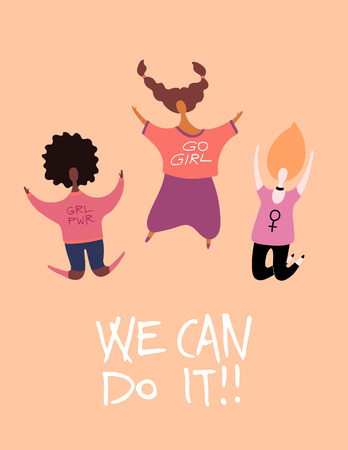 Womens day card, poster, banner, with quote We can do it and diverse women jumping. Hand drawn vector illustration. Flat style design. Concept, element for feminism, girl power.