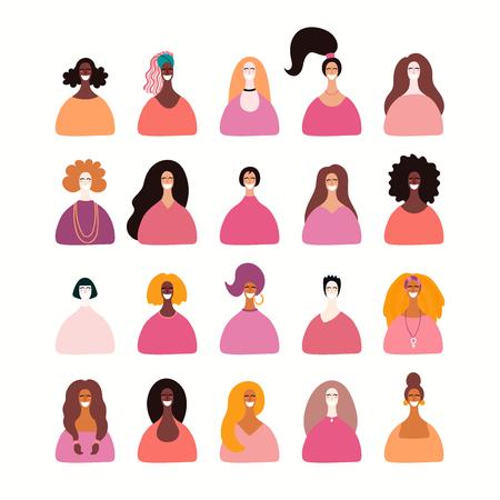 Ensemble de portraits de femmes diverses. Objets isolés sur fond blanc. Illustration vectorielle dessinés à la main. Conception de style plat. Concept, élément pour le féminisme, pouvoir des filles, carte de fête des femmes, affiche, bannière. Vecteurs