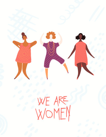 Womens day card, poster, banner, with quote We are women and diverse girls jumping. Hand drawn vector illustration. Flat style design. Concept, element for feminism, girl power.