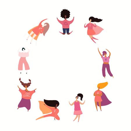 Cornice rotonda con diverse donne che ballano, saltano, supereroi. Oggetti isolati su bianco. Illustrazione vettoriale disegnato a mano. Design in stile piatto. Concetto, elemento per il femminismo, il potere della ragazza, la carta del giorno delle donne.