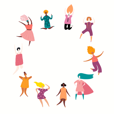 Round frame with diverse women dancing, jumping, superheroes. Isolated objects on white. Hand drawn vector illustration. Flat style design. Concept, element for feminism, girl power, womens day card. Illustration