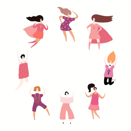 Round frame with women dancing, jumping, superheroes. Isolated objects on white. Hand drawn vector illustration. Flat style design. Concept, element for feminism, girl power, womens day card, poster.