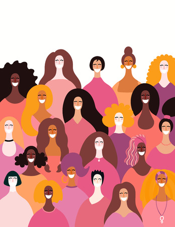 Diverse women faces background. Hand drawn vector illustration. Flat style design. Concept, element for feminism, girl power, womens day card, poster, banner.  イラスト・ベクター素材