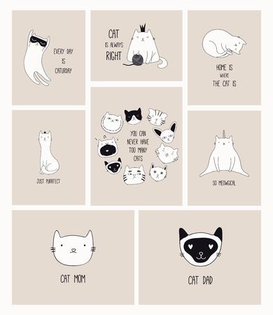 Kartenset mit süßen monochromen Kritzeleien verschiedener Katzen mit lustigen Zitaten für Katzenliebhaber. Handgezeichnete Vektor-Illustration. Strichzeichnung. Designkonzept für Poster, T-Shirt, Modedruck. Vektorgrafik
