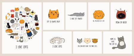 Kartenset mit niedlichen Farbkritzeleien verschiedener Katzen mit lustigen Zitaten für Katzenliebhaber. Handgezeichnete Vektor-Illustration. Strichzeichnung. Designkonzept für Poster, T-Shirt, Modedruck.