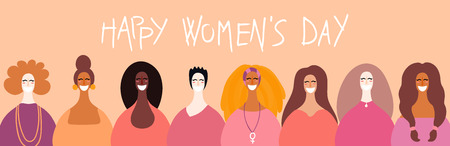 Happy womens day card, poster, banner, background, with quote and diverse women faces. Hand drawn vector illustration. Flat style design. Concept, element for feminism, girl power.
