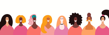 Womens day card, poster, banner, background, with space for text and diverse women faces. Hand drawn vector illustration. Flat style design. Concept, element for feminism, girl power.
