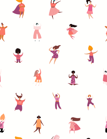 Hand drawn seamless pattern with diverse women. Vector illustration. Flat style design. Concept, element for feminism, womens day card, poster, banner, textile print, wallpaper, packaging background