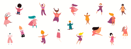 Womens day card, poster, banner, with crowd of tiny diverse women. Isolated objects on white background. Hand drawn vector illustration. Flat style design. Concept, element for feminism, girl power.