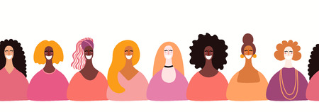 Hand drawn seamless horizontal border with diverse women faces. Vector illustration. Flat style design. Concept, element for feminism, womens day card, poster, banner, wallpaper, packaging, background Illustration