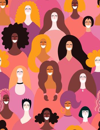 Handgezeichnetes nahtloses Muster mit verschiedenen Frauengesichtern. Vektor-Illustration. Flaches Design. Konzept, Element für Feminismus, Frauentageskarte, Poster, Banner, Textil, Tapete, Verpackungshintergrund Vektorgrafik