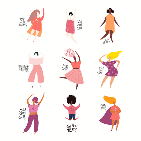 Set of diverse women, quotes about girl power, feminism. Isolated objects on white background. Hand drawn vector illustration. Flat style design. Concept, element for womens day card, poster, banner.