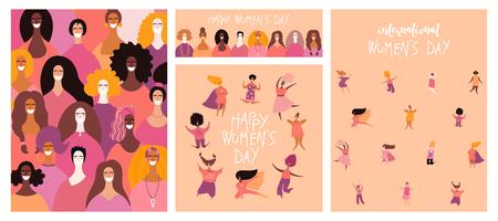 Set di biglietti per il giorno delle donne con donne diverse e citazioni scritte. Illustrazione vettoriale disegnato a mano. Design in stile piatto. Concetto, elemento per il femminismo, potere della ragazza, poster, banner, sfondo.