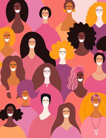 Diverse donne affronta lo sfondo. Illustrazione vettoriale disegnato a mano. Design in stile piatto. Concetto, elemento per il femminismo, potere della ragazza, carta per il giorno delle donne, poster, banner.
