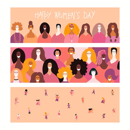 Set of womens day banners with diverse women and lettering quotes. Hand drawn vector illustration. Flat style design. Concept, element for feminism, girl power, card, poster, background.