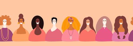 Bordo orizzontale senza giunte disegnato a mano con diversi volti di donne. Illustrazione vettoriale. Design in stile piatto. Concetto, elemento per il femminismo, biglietto per la festa della donna, poster, banner, carta da parati, imballaggio, sfondo