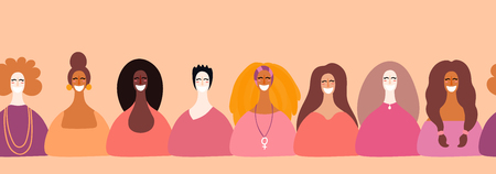 Hand drawn seamless horizontal border with diverse women faces. Vector illustration. Flat style design. Concept, element for feminism, womens day card, poster, banner, wallpaper, packaging, background Çizim
