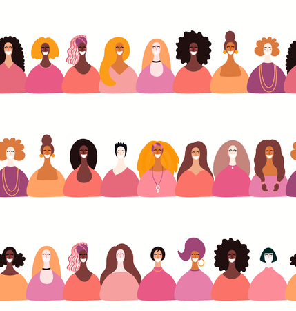 Set of hand drawn seamless borders with diverse women. Vector illustration. Flat style design. Concept, element for feminism, womens day card, banner, textile print, wallpaper, packaging, background. Illustration
