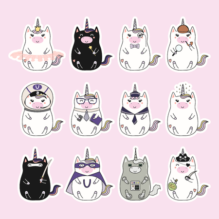 Set of kawaii stickers with fat unicorns, pirate, princess, superhero, astronaut, detective, gentleman, robot, businessman. Isolated objects. Hand drawn vector illustration Design concept kids print