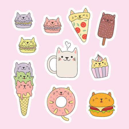 Set of kawaii stickers with foods with cat ears, macarons, pizza, burger, ice cream, cupcake, donut, coffee. Isolated objects. Hand drawn vector illustration. Line drawing. Design concept kids print. Ilustrace