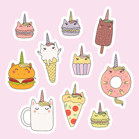 Set of kawaii stickers with foods with unicorn horn, ears, macarons, pizza, burger, ice cream, cupcake, donut, coffee. Isolated objects. Hand drawn vector illustration. Design concept kids print