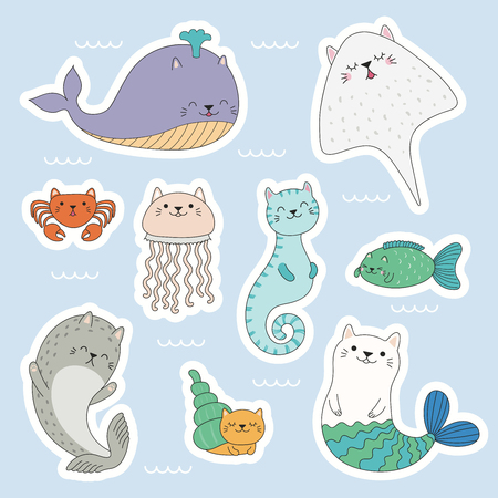 Set of kawaii stickers of sea animals with cat ears, mermaid, jellyfish, crab, seahorse, ray, whale, seal. Isolated objects. Hand drawn vector illustration. Line drawing. Design concept kids print. Ilustração