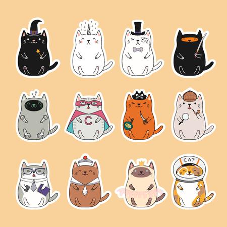 Set kawaii stickers met dikke katten, eenhoorn, matroos, piraat, heks, prinses, superheld, astronaut, detective, ninja. Geïsoleerde objecten Hand getrokken vectorillustratie Ontwerpconcept kinderen afdrukken
