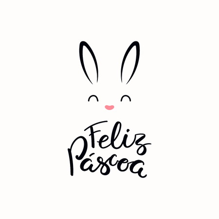 Lettering quote Feliz Pascoa, Happy Easter in Portuguese, with bunny face. Isolated objects on white background. Hand drawn vector illustration. Design concept, element for card, banner, invitation.