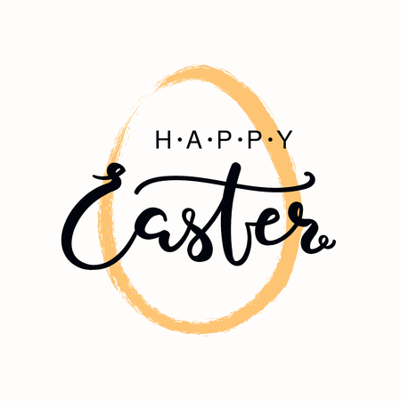 Hand written calligraphic lettering quote Happy Easter, with egg outline. Isolated objects on white background. Hand drawn vector illustration. Design concept, element for card, banner, invitation.