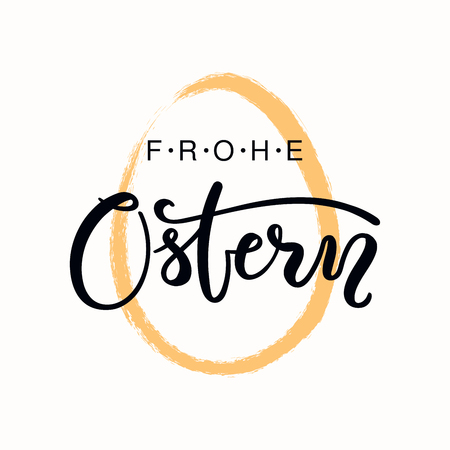 Lettering quote Frohe Ostern, Happy Easter in German, with egg outline. Isolated objects on white background. Hand drawn vector illustration. Design concept, element for card, banner, invitation.