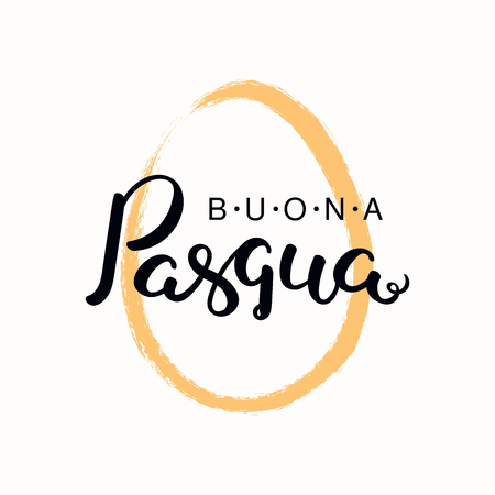 Lettering quote Buona Pasqua, Happy Easter in Italian, with egg outline. Isolated objects on white background. Hand drawn vector illustration. Design concept, element for card, banner, invitation. Ilustrace