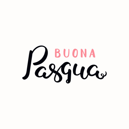 Hand written calligraphic lettering quote Buona Pasqua, Happy Easter in Italian. Isolated objects on white background. Hand drawn vector illustration. Design concept, element card, banner, invitation. Ilustrace