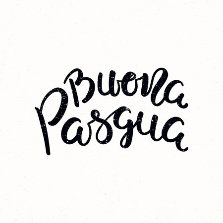 Hand written calligraphic lettering quote Buona Pasqua, Happy Easter in Italian, on a distressed background. Hand drawn vector illustration. Design concept, element for card, banner, invitation. Çizim