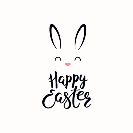 Hand written calligraphic lettering quote Happy Easter, with bunny face. Isolated objects on white background. Hand drawn vector illustration. Design concept, element for card, banner, invitation.