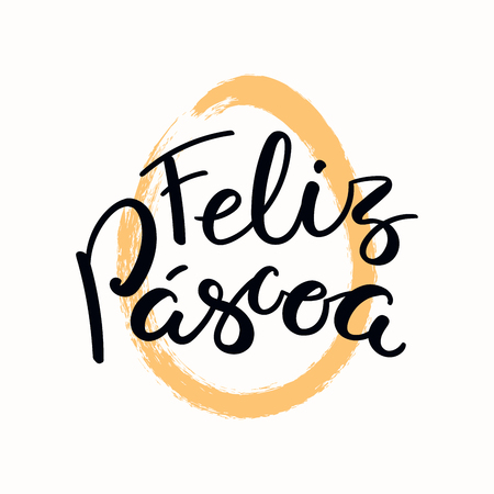 Hand written quote Feliz Pascoa, Happy Easter in Portuguese, with egg outline. Isolated objects on white background. Hand drawn vector illustration. Design concept, element card, banner, invitation. Ilustrace