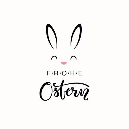 Hand written calligraphic lettering quote Frohe Ostern, Happy Easter in German, with bunny face. Isolated objects on white background. Hand drawn vector illustration. Design concept for card, banner.