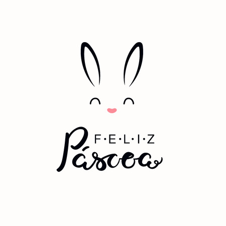 Hand written calligraphic lettering quote Feliz Pascoa, Happy Easter in Portuguese, with bunny face. Isolated objects on white background. Hand drawn vector illustration. Design concept card, banner.