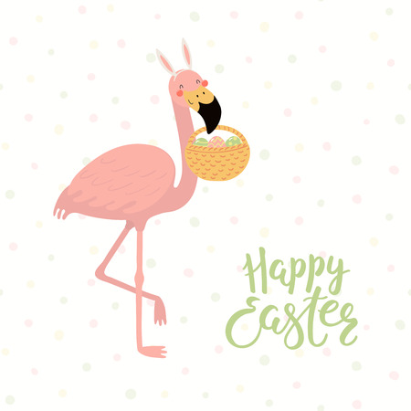 Hand drawn vector illustration of cute flamingo in bunny ears, with basket, eggs, text Happy Easter. Isolated objects on white background. Scandinavian style flat design. Concept for kids print, card. Illustration