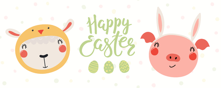 Hand drawn vector illustration of a cute pig in bunny ears, lamb in chick costume, with eggs, text Happy Easter. Isolated objects on white. Scandinavian style flat design. Concept for kids print, card