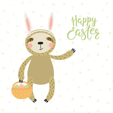 Hand drawn vector illustration of a cute sloth in bunny ears, with basket, eggs, text Happy Easter. Isolated objects on white background. Scandinavian style flat design. Concept for kids print, card.