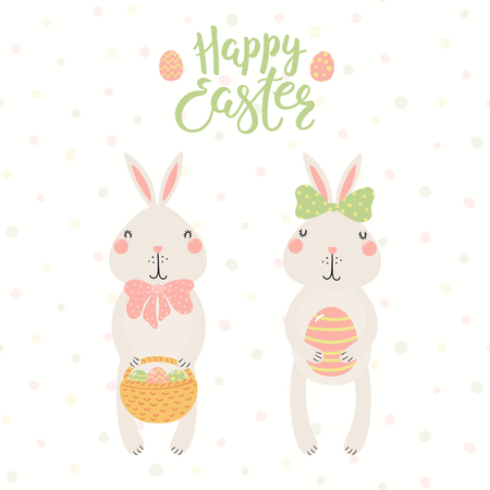 Hand drawn vector illustration of cute bunnies, with basket, eggs, text Happy Easter. Isolated objects on white background. Scandinavian style flat design. Concept for kids print, card.