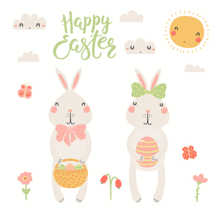 Hand drawn vector illustration of cute bunnies, with basket, eggs, sun, clouds, text Happy Easter. Isolated objects on white background. Scandinavian style flat design. Concept for kids print, card.