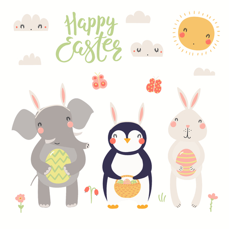 Hand drawn vector illustration of a cute elephant, bunny, penguin, with eggs, text Happy Easter. Isolated objects on white background. Scandinavian style flat design. Concept for kids print, card. Ilustrace
