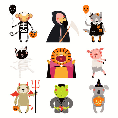 Big Halloween set with cute animals in costumes with candy, pumpkin, balloons. Isolated objects. Hand drawn vector illustration. Scandinavian style flat design. Concept kids print, party invitation. Illustration