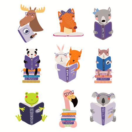 Gran set con lindos animales leyendo diferentes libros. Objetos aislados sobre fondo blanco. Ilustración de vector dibujado a mano. Diseño plano de estilo escandinavo. Concepto para niños imprimir, aprender.