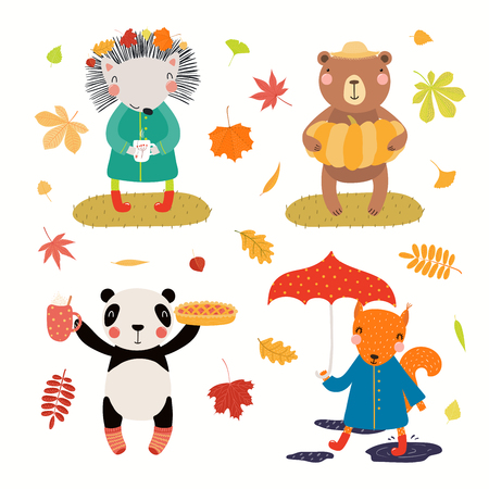 Autumn set with cute animals, falling leaves, pie, pumpkin, umbrella. Isolated objects on white background. Hand drawn vector illustration. Scandinavian style flat design. Concept for children print. Stock Illustratie