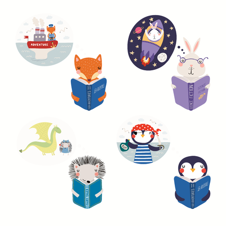 Big set with cute animals reading different books. Isolated objects on white background. Hand drawn vector illustration. Scandinavian style flat design. Concept for kids print, learning, imagination.  イラスト・ベクター素材