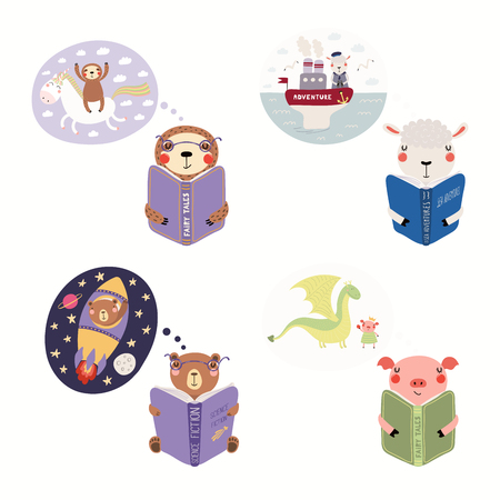 Big set with cute animals reading different books. Isolated objects on white background. Hand drawn vector illustration. Scandinavian style flat design. Concept children print, learning, imagination.