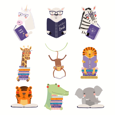 Grand ensemble avec des animaux mignons lisant différents livres. Objets isolés sur fond blanc. Illustration vectorielle dessinés à la main. Design plat de style scandinave. Concept pour l'impression des enfants, l'apprentissage.